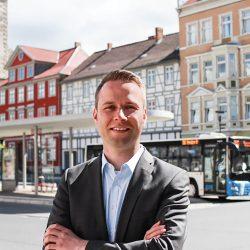 Dennis Berger am Kornmarkt in Wolfenbüttel - Mobilität die uns weiter bringt